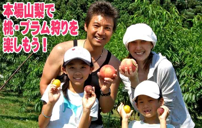 山梨で桃狩りを楽しむ家族