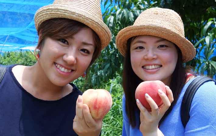 友人と桃狩りを山梨で楽しむ