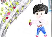 子供たちの果物狩りの絵